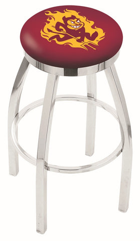 "ASU Sun Devils 30"" L8C2C - Chrome Arizona State Swivel Bar Stool with Accent Ring by Holland Bar Stool Company"