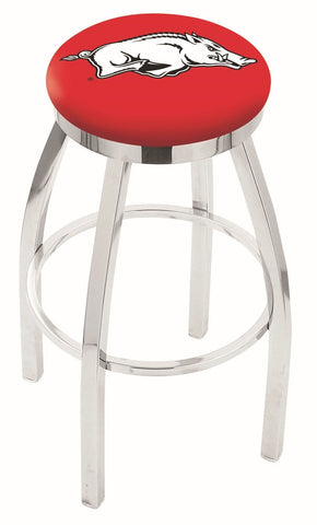 "Arkansas Razorbacks 30"" L8C2C - Chrome Arkansas Swivel Bar Stool with Accent Ring by Holland Bar Stool Company"