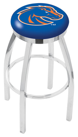 "BSU Broncos 30"" L8C2C - Chrome Boise State Swivel Bar Stool with Accent Ring by Holland Bar Stool Company"