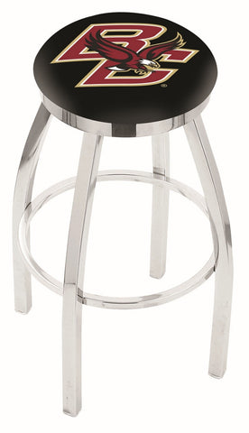 "BC Eagles 30"" L8C2C - Chrome Boston College Swivel Bar Stool with Accent Ring by Holland Bar Stool Company"