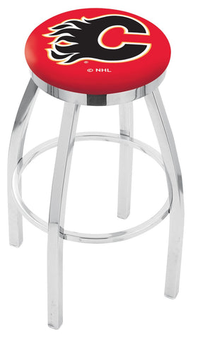 "30"" L8C2C - Chrome Calgary Flames Swivel Bar Stool with Accent Ring by Holland Bar Stool Company"