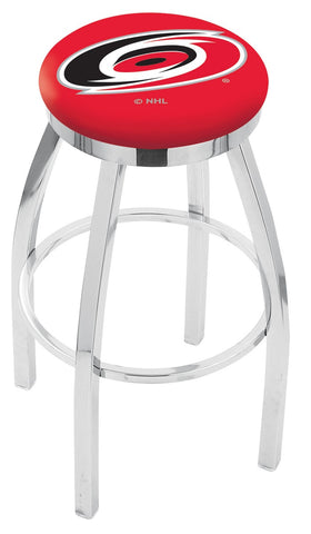"30"" L8C2C - Chrome Carolina Hurricanes Swivel Bar Stool with Accent Ring by Holland Bar Stool Company"