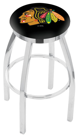 "30"" L8C2C - Chrome Chicago Blackhawks Swivel Bar Stool with Accent Ring by Holland Bar Stool Company"