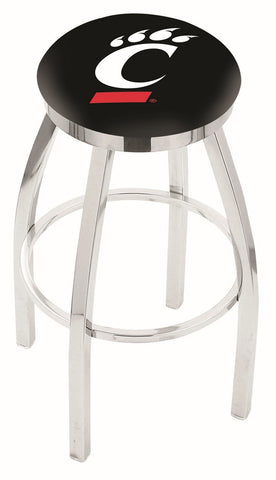 "UC Bearcats 30"" L8C2C - Chrome Cincinnati Swivel Bar Stool with Accent Ring by Holland Bar Stool Company"