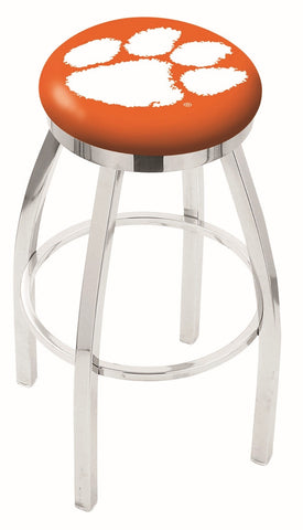 "Clemson  Tigers 30"" L8C2C - Chrome Clemson Swivel Bar Stool with Accent Ring by Holland Bar Stool Company"