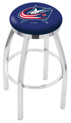"30"" L8C2C - Chrome Columbus Blue Jackets Swivel Bar Stool with Accent Ring by Holland Bar Stool Company"