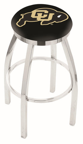 "Colorado Buffaloes 30"" L8C2C - Chrome Colorado Swivel Bar Stool with Accent Ring by Holland Bar Stool Company"
