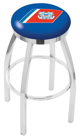 "30"" L8C2C - Chrome U.S. Coast Guard Swivel Bar Stool with Accent Ring by Holland Bar Stool Company"