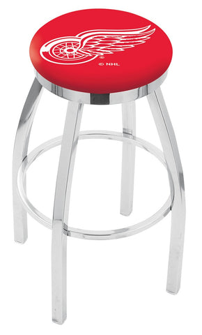 "30"" L8C2C - Chrome Detroit Red Wings Swivel Bar Stool with Accent Ring by Holland Bar Stool Company"
