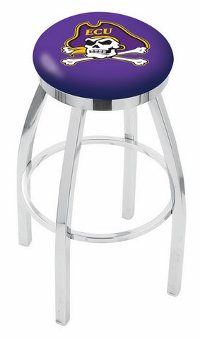 "ECU Pirates 30"" L8C2C - Chrome East Carolina Swivel Bar Stool with Accent Ring by Holland Bar Stool Company"