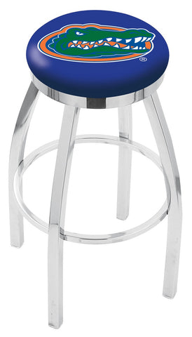 "UF Gators 30"" L8C2C - Chrome Florida Swivel Bar Stool with Accent Ring by Holland Bar Stool Company"