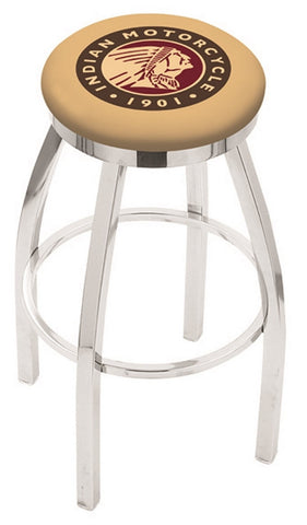 "30"" L8C2C - Chrome Indian Motorcycle Swivel Bar Stool with Accent Ring by Holland Bar Stool Company"