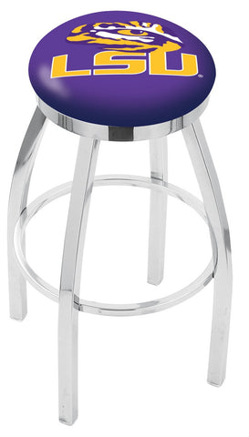"LSU Tigers 30"" L8C2C - Chrome Louisiana State Swivel Bar Stool with Accent Ring by Holland Bar Stool Company"