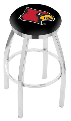 "UofL Cardinals 30"" L8C2C - Chrome Louisville Swivel Bar Stool with Accent Ring by Holland Bar Stool Company"