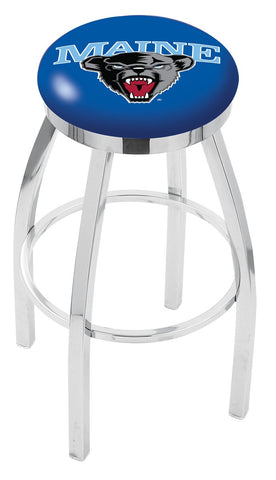 "Maine Black Bears 30"" L8C2C - Chrome Maine Swivel Bar Stool with Accent Ring by Holland Bar Stool Company"