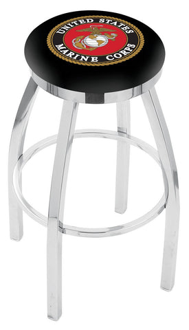 "30"" L8C2C - Chrome U.S. Marines Swivel Bar Stool with Accent Ring by Holland Bar Stool Company"