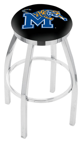 "Memphis Tigers 30"" L8C2C - Chrome Memphis Swivel Bar Stool with Accent Ring by Holland Bar Stool Company"