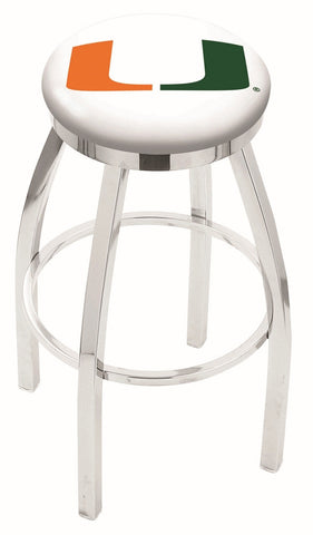 "Miami Hurricanes 30"" L8C2C - Chrome Miami (FL) Swivel Bar Stool with Accent Ring by Holland Bar Stool Company"