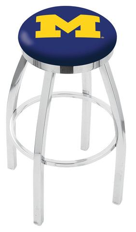 "Michigan Wolverines 30"" L8C2C - Chrome Michigan Swivel Bar Stool with Accent Ring by Holland Bar Stool Company"