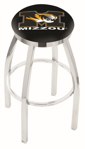 "Mizzou Tigers 30"" L8C2C - Chrome Missouri Swivel Bar Stool with Accent Ring by Holland Bar Stool Company"