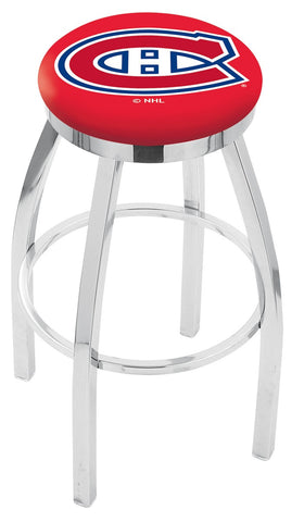 "30"" L8C2C - Chrome Montreal Canadiens Swivel Bar Stool with Accent Ring by Holland Bar Stool Company"