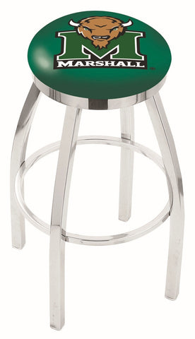 "Marshall  Thundering Herd 30"" L8C2C - Chrome Marshall Swivel Bar Stool with Accent Ring by Holland Bar Stool Company"