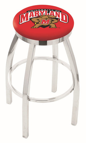 "UM Terrapins 30"" L8C2C - Chrome Maryland Swivel Bar Stool with Accent Ring by Holland Bar Stool Company"