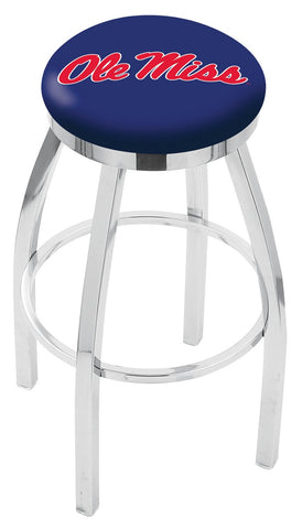 "Ole Miss Rebels 30"" L8C2C - Chrome Ole' Miss Swivel Bar Stool with Accent Ring by Holland Bar Stool Company"
