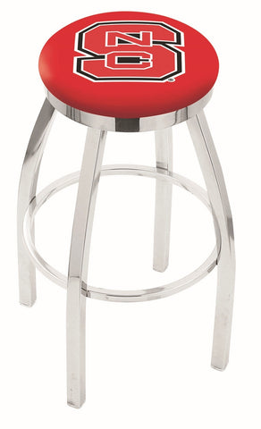 "NC State Wolfpack 30"" L8C2C - Chrome North Carolina State Swivel Bar Stool with Accent Ring by Holland Bar Stool Company"