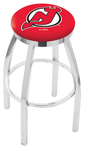 "30"" L8C2C - Chrome New Jersey Devils Swivel Bar Stool with Accent Ring by Holland Bar Stool Company"