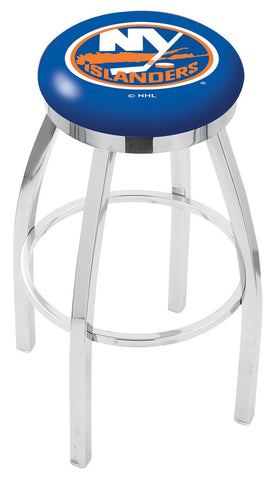 "30"" L8C2C - Chrome New York Islanders Swivel Bar Stool with Accent Ring by Holland Bar Stool Company"