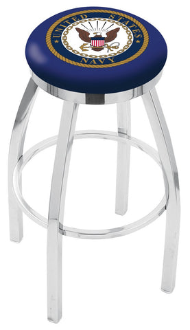 "30"" L8C2C - Chrome U.S. Navy Swivel Bar Stool with Accent Ring by Holland Bar Stool Company"