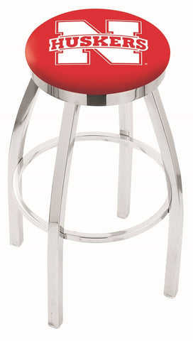 "Nebraska Cornhuskers 30"" L8C2C - Chrome Nebraska Swivel Bar Stool with Accent Ring by Holland Bar Stool Company"