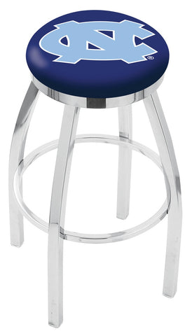 "UNC Tar Heels 30"" L8C2C - Chrome North Carolina Swivel Bar Stool with Accent Ring by Holland Bar Stool Company"