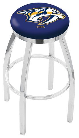 "30"" L8C2C - Chrome Nashville Predators Swivel Bar Stool with Accent Ring by Holland Bar Stool Company"