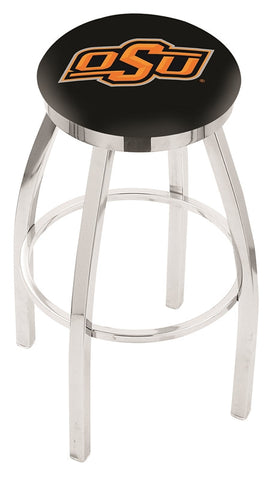 "OSU Cowboys 30"" L8C2C - Chrome Oklahoma State Swivel Bar Stool with Accent Ring by Holland Bar Stool Company"