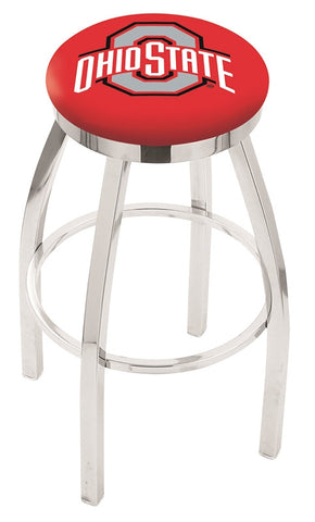 "OSU Buckeyes 30"" L8C2C - Chrome Ohio State Swivel Bar Stool with Accent Ring by Holland Bar Stool Company"