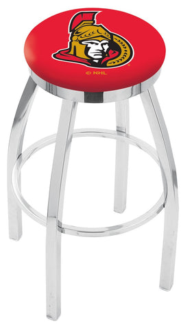 "30"" L8C2C - Chrome Ottawa Senators Swivel Bar Stool with Accent Ring by Holland Bar Stool Company"