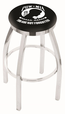 "30"" L8C2C - Chrome POW/MIA Swivel Bar Stool with Accent Ring by Holland Bar Stool Company"