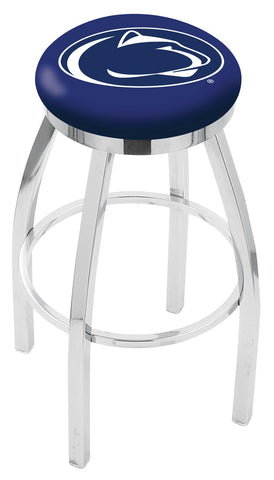 "PSU Nittany Lions 30"" L8C2C - Chrome Penn State Swivel Bar Stool with Accent Ring by Holland Bar Stool Company"