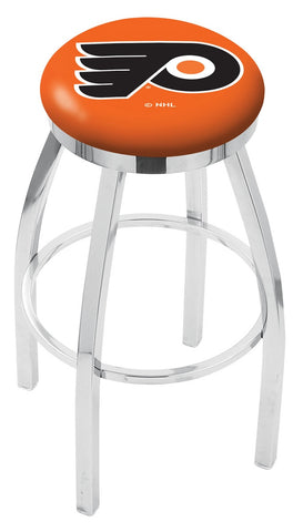 "30"" L8C2C - Chrome Philadelphia Flyers Swivel Bar Stool with Accent Ring by Holland Bar Stool Company"