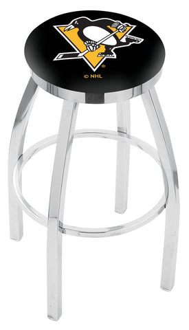 "30"" L8C2C - Chrome Pittsburgh Penguins Swivel Bar Stool with Accent Ring by Holland Bar Stool Company"