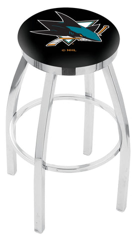 "30"" L8C2C - Chrome San Jose Sharks Swivel Bar Stool with Accent Ring by Holland Bar Stool Company"