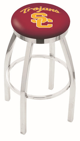 "USC Trojans 30"" L8C2C - Chrome USC Trojans Swivel Bar Stool with Accent Ring by Holland Bar Stool Company"