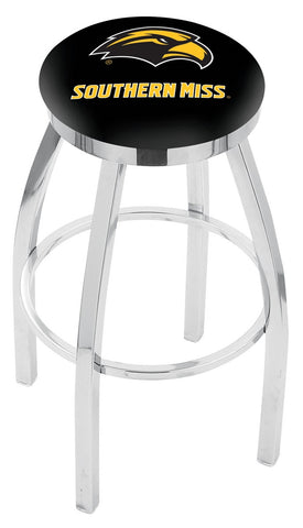 "Southern Miss Golden Eagles 30"" L8C2C - Chrome Southern Miss Swivel Bar Stool with Accent Ring by Holland Bar Stool Company"