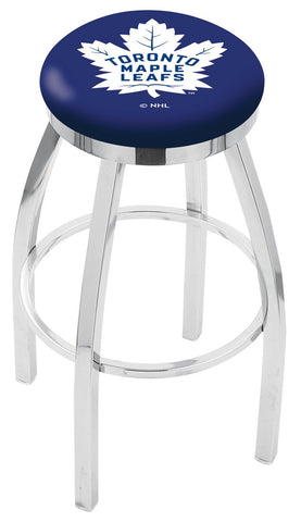 "30"" L8C2C - Chrome Toronto Maple Leafs Swivel Bar Stool with Accent Ring by Holland Bar Stool Company"