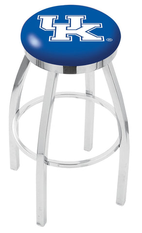"UK Wildcats 30"" L8C2C - Chrome Kentucky ""UK"" Swivel Bar Stool with Accent Ring by Holland Bar Stool Company"
