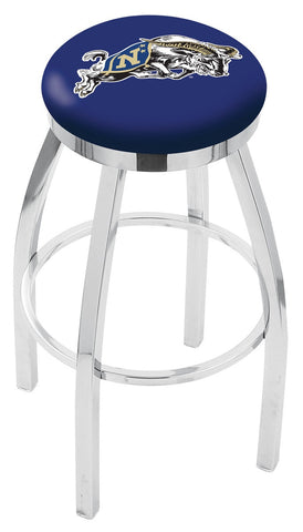 "Navy Midshipmen 30"" L8C2C - Chrome US Naval Academy (NAVY) Swivel Bar Stool with Accent Ring by Holland Bar Stool Company"