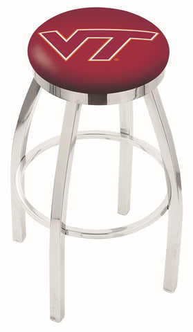 "VT Hokies 30"" L8C2C - Chrome Virginia Tech Swivel Bar Stool with Accent Ring by Holland Bar Stool Company"