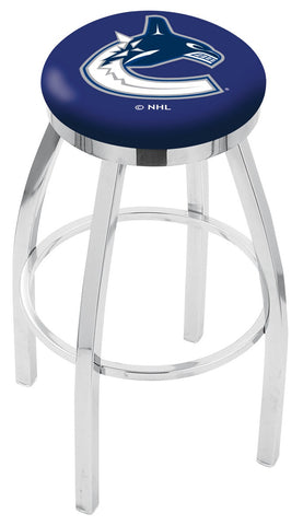 "30"" L8C2C - Chrome Vancouver Canucks Swivel Bar Stool with Accent Ring by Holland Bar Stool Company"